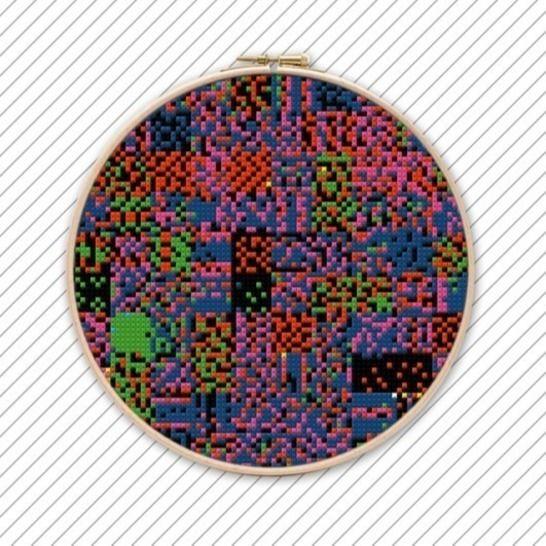 Poppiges Kreuzstich Stickmuster . POLYCHROME #035  bei Makerist - Bild 1