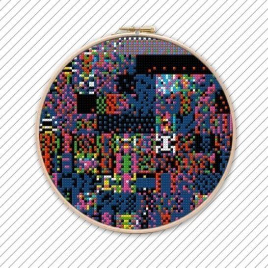 Modernes Stickmuster . POLYCHROME #022 .  Kreuzstichvorlage  bei Makerist - Bild 1