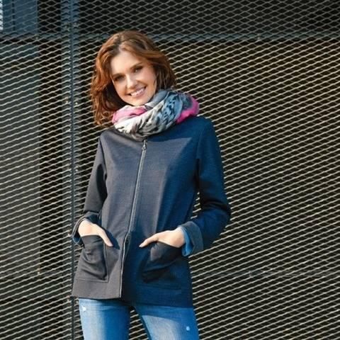 Reißverschluss-Jacke in Blau-Grau