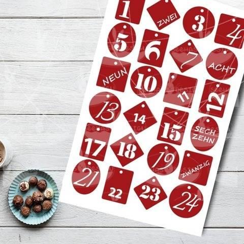 Plotterdatei - Adventskalender-Zahlen 1-24  bei Makerist