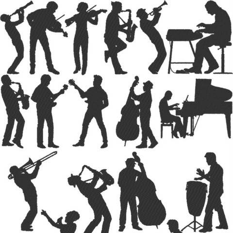 Musik Stickdatei Big-Band Jazz Silhouetten