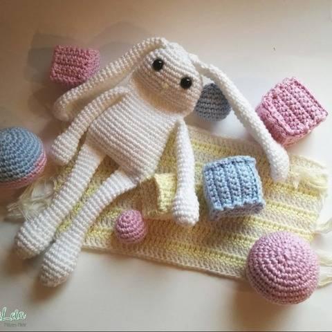 Spielzeug Hase, Amigurumi Zubehör - Häkelanleitung