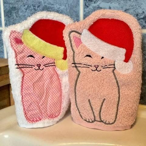 WeihnachtsKatzen-Waschlappen Stickdatei ITH 13x18
