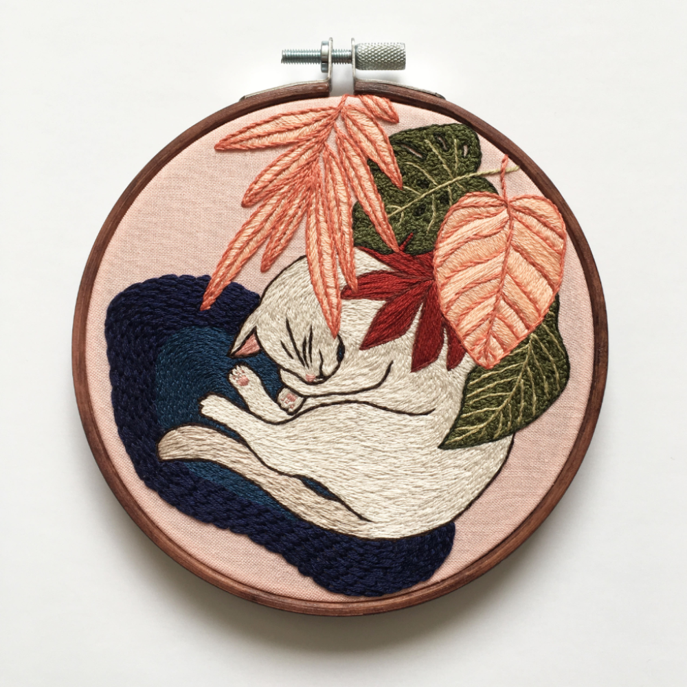 Cat Nap Intermediate Hand Embroidery Pattern