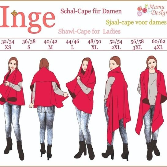 E-Pattern and Sewing Instructions Shawl-Cape INGE XS-4XL bei Makerist - Bild 1