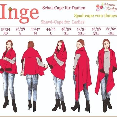 E-Pattern and Sewing Instructions Shawl-Cape INGE XS-4XL bei Makerist