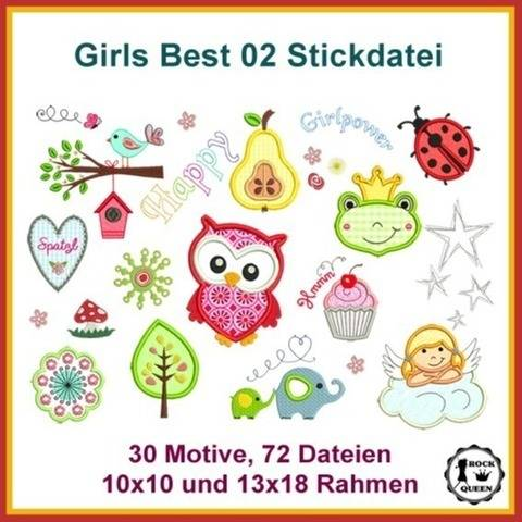 Stickdateien Girls Best 2 Eule Frosch Pilz Käfer 72x Applis