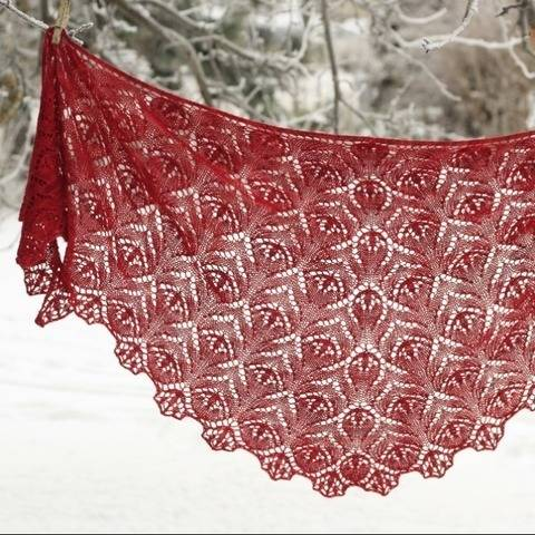 Red Lily - lace shawl