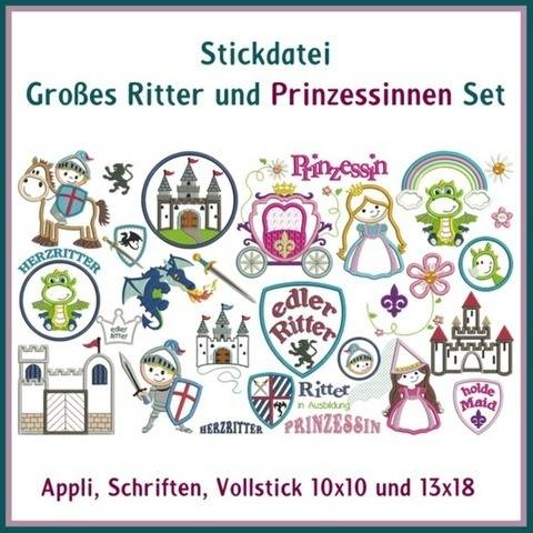 Stickdateien Ritter Prinzessinnen Set Appli 99x ab 10cm