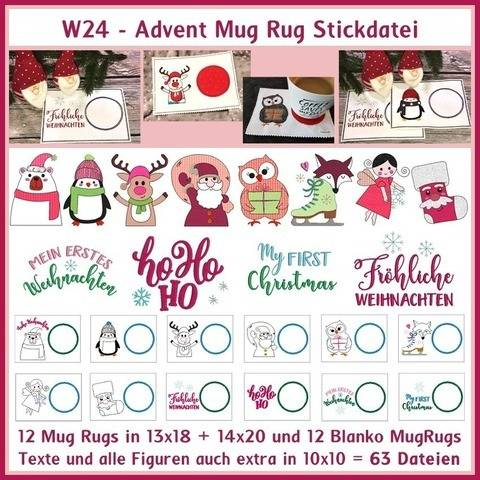 Stickdateien W24 Advent Doole Mug Rug Pinguin Fuchs 63x