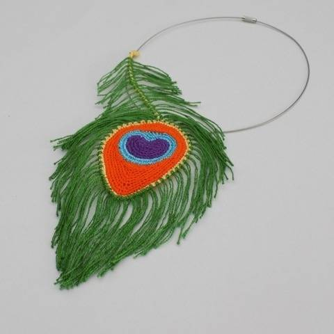 Crochet Peacock Feather Necklace, Crochet Jewelry, accessory