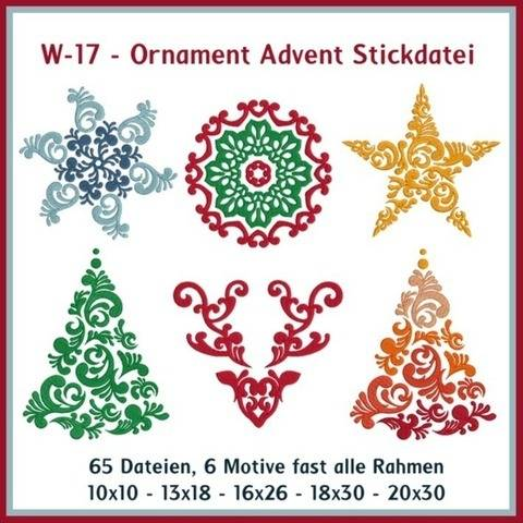 Stickdateien W17 Ornament Advent Baum Stern Weihnachten