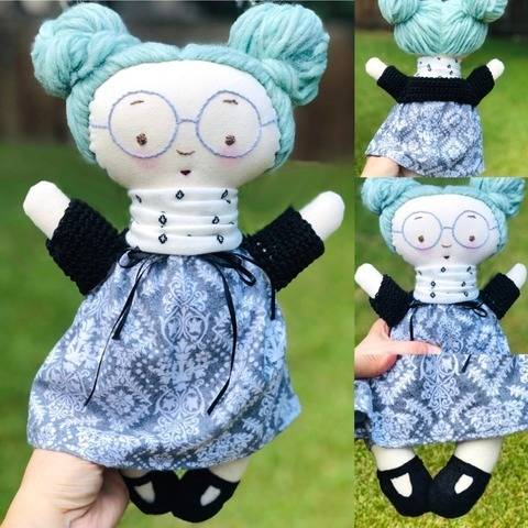 """Luciana Blue 15"""" Fabric Doll Pattern with Embroidery at Makerist"""
