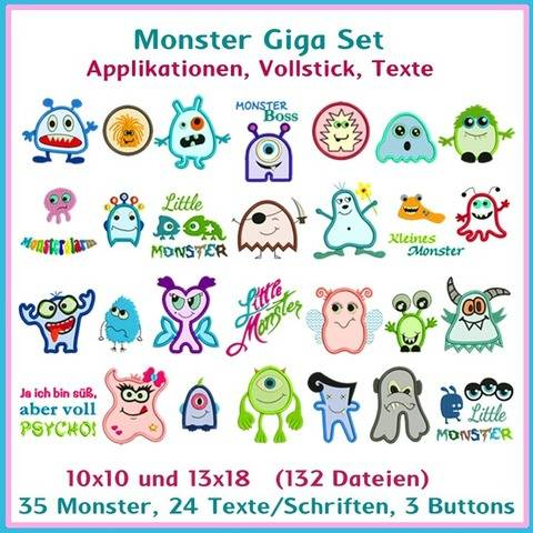 Stickdateien Monster Giga Set Applikationen 132x ab 10cm