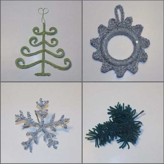 Crochet Ornaments: Christmas Tree, Wreath, Snowflake, Pine at Makerist - Image 1