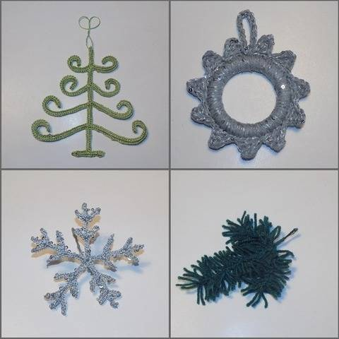 Crochet Ornaments: Christmas Tree, Wreath, Snowflake, Pine at Makerist