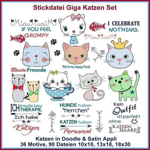 Stickdateien Giga Katzen Applikations Set 90x ab 10cm