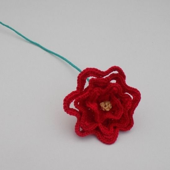 Crochet Rose, Crocheted Red Rose, Beauty and the Beast at Makerist - Image 1