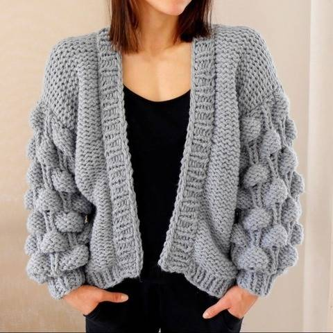 Knitting Pattern – Cardigan BUBBLES (S/M and L/XL) – No.194E at Makerist