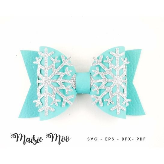 Christmas Bow SVG, Frozen Snowflake Bow Template, at Makerist - Image 1