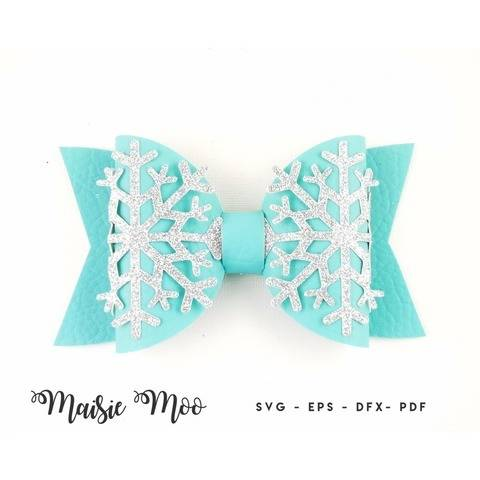 Christmas Bow SVG, Frozen Snowflake Bow Template,