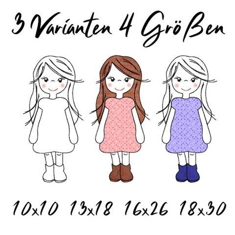 Stickdatei Girl Applikation vier Größen, drei Varianten bei Makerist