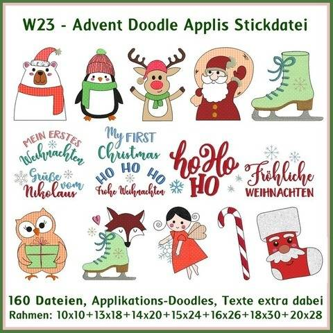 Stickdateien W23 Advent Doodle Applis Stickdatei 160Dateien