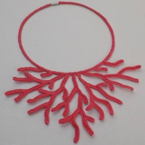 Crochet Coral Necklace Pattern, Crocheted Corals, Jewelry