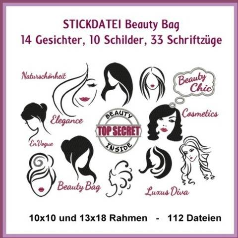 Stickdateien Beauty Bag Schilder Kosmetik 106x ab 10cm