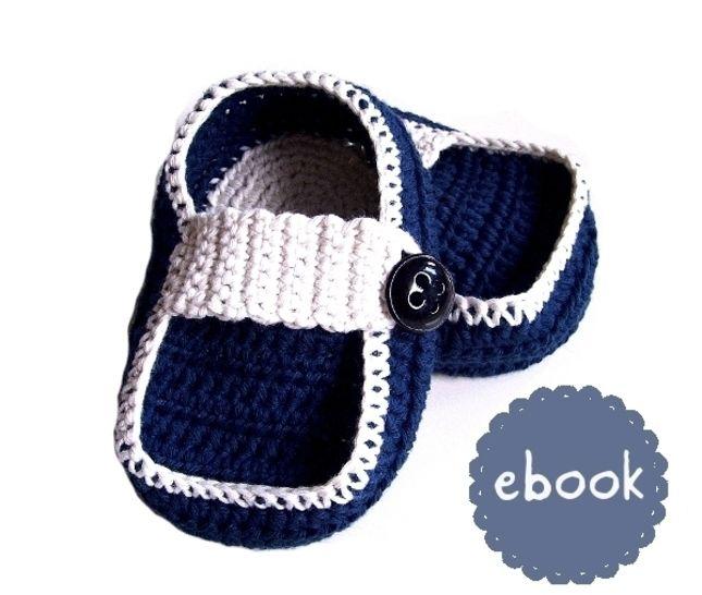 ❤ Häkelanleitung ❤ Navy Baby Loafers bei Makerist - Bild 1