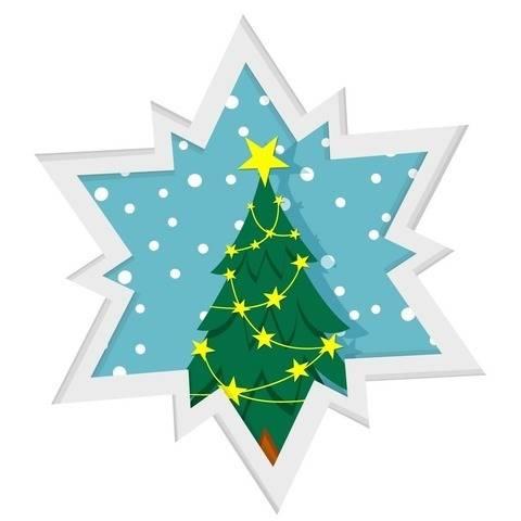 Schichtkarte mit Weihnachsbaum - Bastel- und Plotterdatei