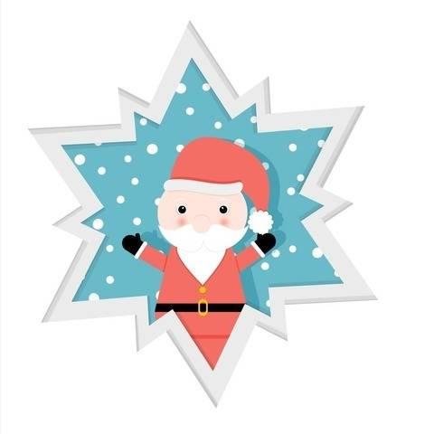 Schichtkarte mit Weihnachtsmann  - Bastel- und Plotterdatei