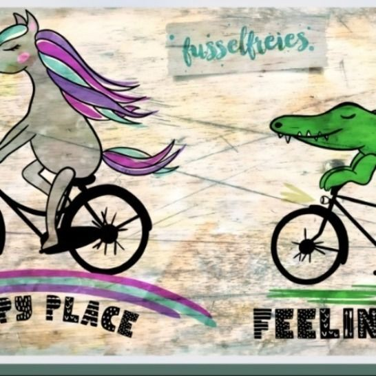 HAPPY ON BIKES  Einhorn + Krokodil Fusselfreies bei Makerist - Bild 1