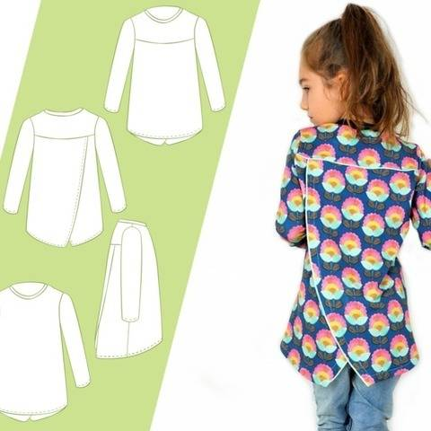 Sewing pattern and instructions Little Layla wrap top kids at Makerist