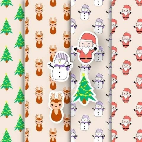 Weihnachten - 4 Endlos Muster und Digi Stamps