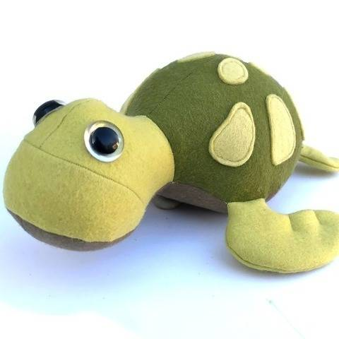 Turtle plush toy sewing pattern with appliqué detailing