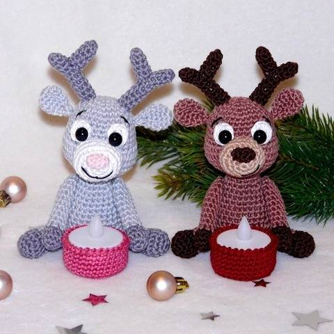 Crochet Pattern Reindeer Tealight holder