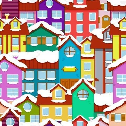 Häuser im Winter - 2 Endlos Muster und 6 Digi Stamps
