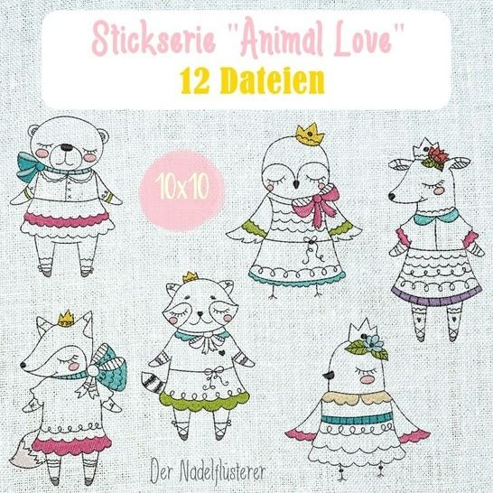 Digitale Stickserie Animal Love 10x10 bei Makerist - Bild 1
