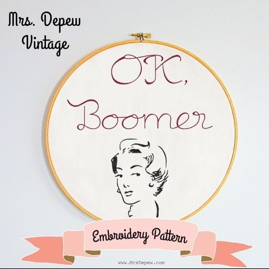 Vintage Style Embroidery Design OK Boomer  E-113 at Makerist - Image 1
