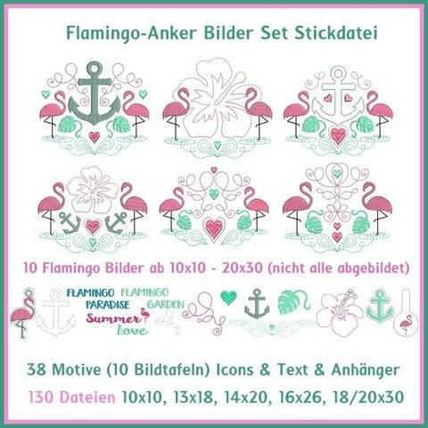 Stickdateien Flamingo Anker Bild DIY Set 130x ab 10cm