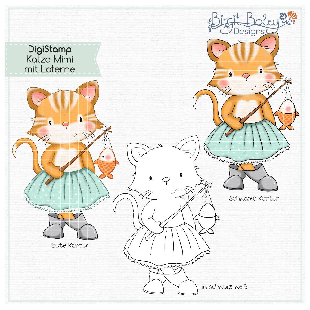 Birgit Boley Designs • DigiStamp Katze Mimi mit Laterne