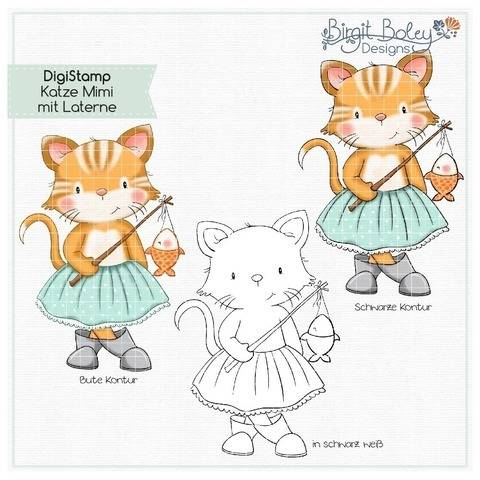 Birgit Boley Designs • DigiStamp Katze Mimi mit Laterne