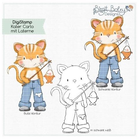 Birgit Boley Designs • DigiStamp Kater Carlo mit Laterne