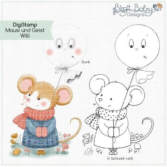 Birgit Boley Designs • DigiStamp Mausi und Geist Willi bei Makerist - Bild 1