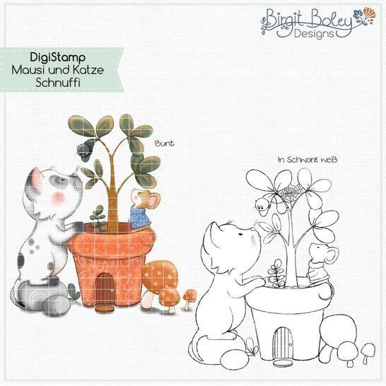 Birgit Boley Designs • DigiStamp Katze Schnuffi bei Makerist - Bild 1