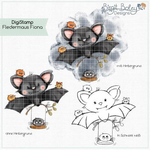 Birgit Boley Designs • DigiStamp Fledermaus Fiona