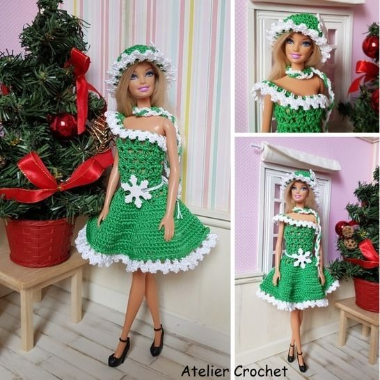 """""""Christmas in green"""" crochet pattern for Barbie at Makerist - Image 1"""