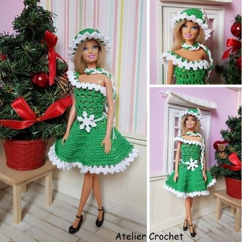 """Christmas in green"" crochet pattern for Barbie at Makerist"