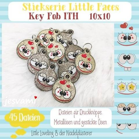 Digitale Stickdatei Little Faces Key Fob ITH 10x10